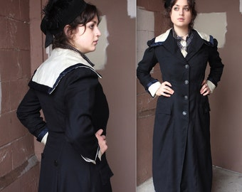 Antique Edwardian Coat // 1900s 1910s Navy Blue Wool Coat with Sailor Collar and Satin Trim // Suffragette