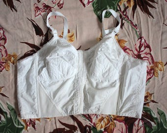 Vintage 1950s Bustier // 40s 50s White Cotton Bullet Bra Bustier // Pin Up Corset Lingerie Top // Star and Moon Embroidery DIVINE