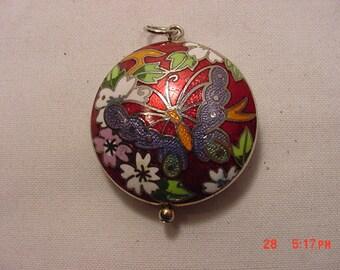 Vintage Cloisonee Look Butterfly Pendant  16 - 694
