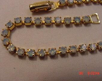 Vintage Light Blue Moonstone Rhinestone Bracelet.   16 - 934