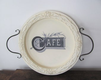 Round Wood Tray, Antique White Ornate Decoupaged Tray, French Cafe Tray