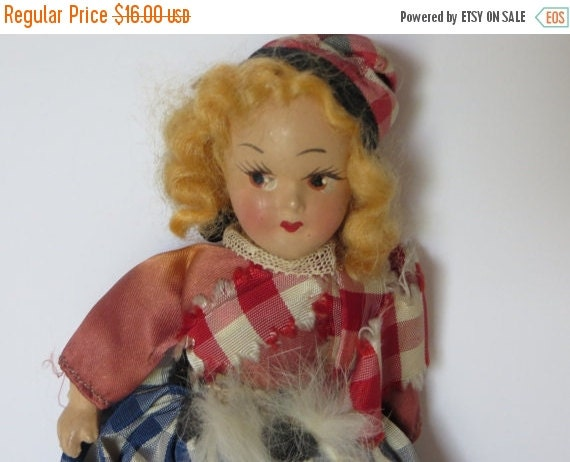 ON SALE Vintage Composition Nancy Ann 1940s-1950s-Blonde Hair-Original Clothing-Jointed-Scandinavian
