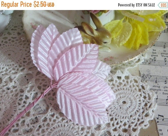 ON SALE Millinery Leaves-Baby Pink-Satin