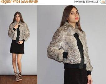 40% Limited time SALE  - Vintage Gray Rabbit Fur Bomber Coat  - Gray Rabbit Fur Coat  - The Roxanne Coat  - W00143