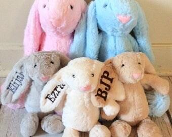 Monogrammed Easter Bunny, Easter Bunny, Monogram, Easter Rabbit, Easter Basket, Easter, Plush, Bunny, Stuffed Bunny, Pink, Blue, Beige, Gray