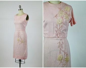 Vintage 1950s Dress / 50s Dress / Pink Dress / Suit Dress / New Look Dress Two Piece Set Topper Blouse Crochet Lace