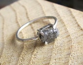 Rough Diamond Sterling Silver Ring Alternative Engagement Ring Everyday Stackable Delicate Jewellery Bohemian Jewelry OOAK Unique
