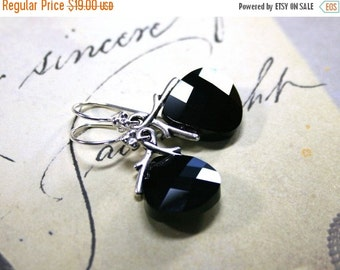 ON SALE Swarovski Briolette Crystal Earrings in Jet Black and Silver - Handmade with Swarovski Crystal and Sterling Silver