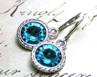 ON SALE Light Turquoise Swarovski Crystal Rivoli Earrings - Light Blue -Swarovski Crystal and Sterling Silver Leverbacks