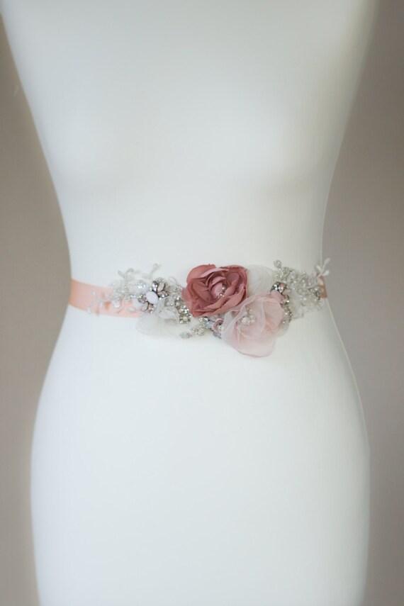 Pink Wedding Dress Sash : Blush bridal sash pink wedding belt dress