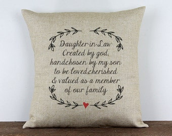 """Daughter in Law Pillow // Welcome to the Family gift // Linen Throw Pillow 16""""x16""""  - KW1"""