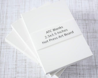 ATC Blanks ACEO Blanks Watercolor Board Hot Press Artist Trading Card Supplies ACEO Supplies Altered Art Mixed Media Scrapbooking 5 count
