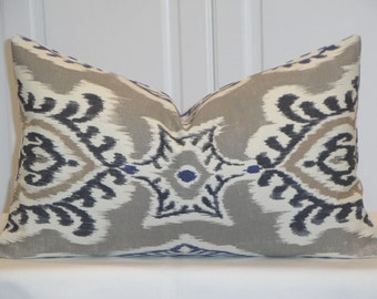 Both Sides IKAT -Decorative Pillow Cover - Gray Pillow - Navy Tan Charcoal  Accent Pillow - Kilim Pillow