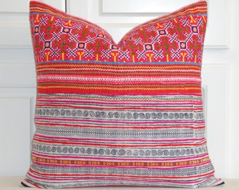VINTAGE Hmong Pillow Cover - Tribal Decorative Pillow Cover -  Hemp and Cotton - Cross Stitches Embroidery - Accent Pillow - Toss Pillow