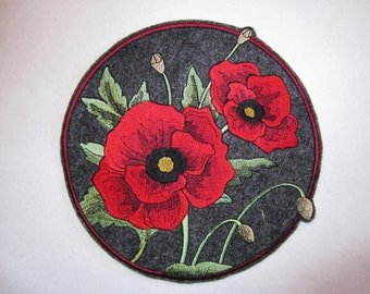 Embroidered Poppies Iron On Patch, Applique Iron On Patch, Poppy, Flower Applique