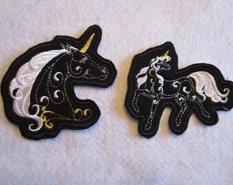 Embroidered Fantasy Unicorns Iron On Patch, Unicorn Patch, Iron On Patch, Pair Of Unicorns, Fantasy Unicorn Patch