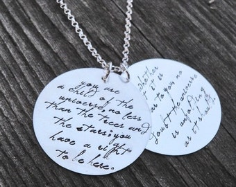 20% OFF - Custom Large 2-Disc Sterling Necklace - Your Saying, Your Font