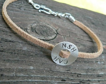 10 dollars off: Split Suede Circle Bracelet - Choice of 6 Fonts - Custom - Unisex