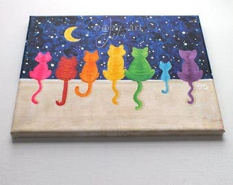 CUSTOM - Rainbow Cats on a Wall Art, Commission your own 8x10 inch acrylic canvas painting, colorful whimsical cat art