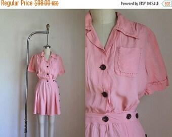 SHOP SALE vintage 1930s/40s playsuit - NARDIS taffy pink romper / S