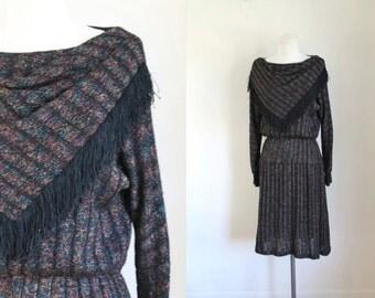 vintage sweater dress -  AURORA fringed bib collar lurex knit dress / S/M