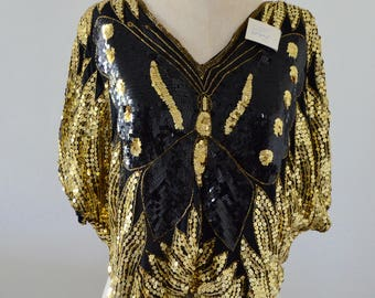 Vintage NEW w TAGS 70/80s Gold Silk Beaded Sequined Butterfly Top Street Style