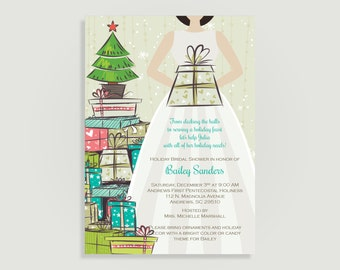 Christmas Bridal Shower Invitation - Stock the Tree - Personalized Printable File or Print Package Available #00105-PIA7