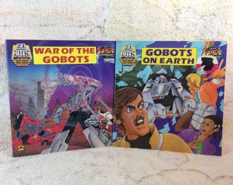 Pair of 1984 Gobots Books Gobots on Earth and War of the Gobots - Kids Picture Books Collectible 80s Kids Books