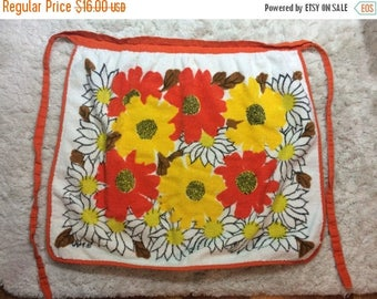 10% OFF SALE 1970s Terry Cloth Apron Kitchen Flower Power Orange Flowers Cooking Baking