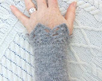 Natural Gray Wool Wrist Warmers Hand Crocheted Wristlet Crochet Wrist Cuff  Handmade in Ireland