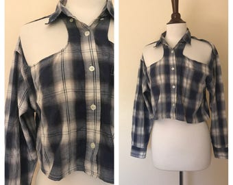Grungey open shoulder plaid button up