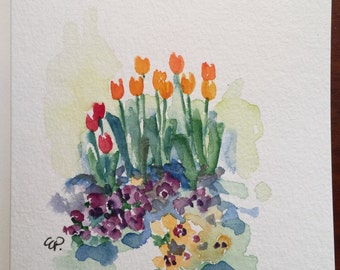 Spring Garden Watercolor Card/ Hand Painted Watercolor Card