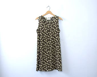 Vintage 90's grunge babydoll dress, brown daisy floral, size 10 / 11