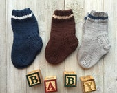 3 Pairs ~Hand Knitted Baby Socks //Knitted Baby Socks // Hand Knitted Baby Clothing // Hand Knitted Socks //Baby Socks