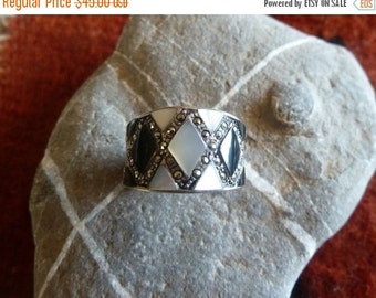 Mother of Pearl, Marcasite Wide Band