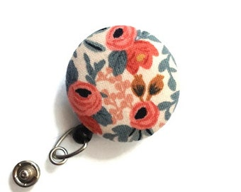 Floral Badge Reel-Retractable Badge Holder-Nurse ID Holder-Floral ID Holder