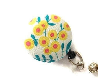 Floral Badge Reel  Retractable Badge Holder Name Badge Holder ID Badge Holder Nurse Badge Reel Key Card Holder Badge Clip White Yellow Green