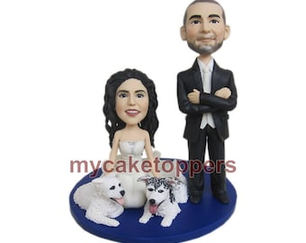 customized wedding cake toppers, wedding cake toppers with 2 dogs for colleengemmell31