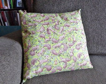 Squirrels and Dogs 14 x 14 Inch Pillow in Bright Green and Browns