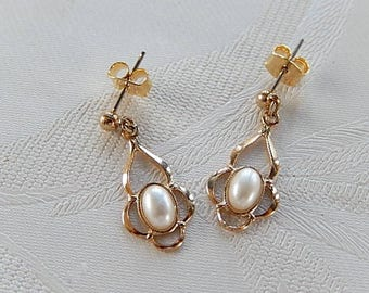 Faux Pearl Earrings, Vintage Pearl Earrings, Small Dangly Earrings, Gift for Her