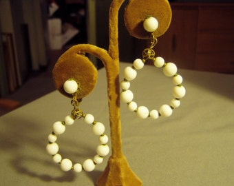 Vintage Miriam Haskell Drop Dangle Clip Earrings White Bead Hoops Signed HASKELL  9011