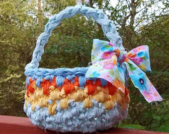 Crochet Basket with Handle Easter Basket, Gift Basket, Made to Order