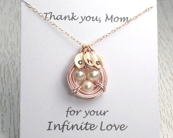 HOLIDAY SALE Monogram Rose Gold Bird Nest Jewelry, Mother Christmas Gift, Charm Necklace, Thank You Mom Message, Christmas Gift for Mothe...