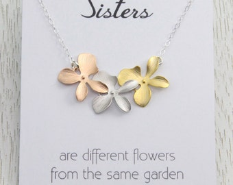 Sisters Necklace, Tri-Color Flower Necklace, Wedding Gift, Best Friends, Bridal Rose Gold Necklace, Sisterhood Gift, S...