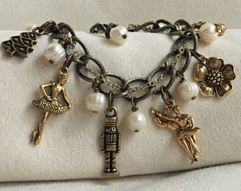 Nutcracker Ballet Charm Bracelet Antique Brass and Gold with Freshwater Pearl Accents