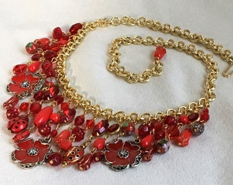 Red Poppy Eclectic Charm Necklace