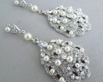 Bridal Earrings, Pearl Bridal Earrings, Wedding Pearl Earrings, chandelier Rhinestone Earrings, cluster Earrings, statement earrings, SUSANE