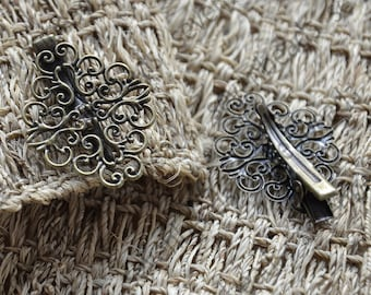 8 pcs New style Antique Bronze flower bobby pins,flower filigree bobby pins, flower pad findings