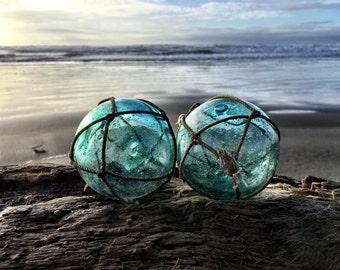 "Japanese Glass Fishing Floats - 3.2"" Diameter, Alaska Beachcombed, Bubbles"