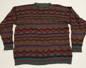 Essay by Linda Larson Sweater, Jewel Tones Hip Hop Shirt, Vintage 90s, Made in USA